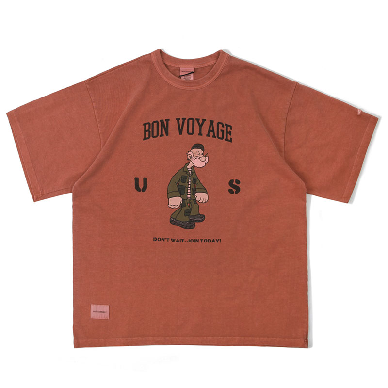 V.O.C TEE(vintage washing_BON VOYAGE)_RED[LIMITED EDITION]