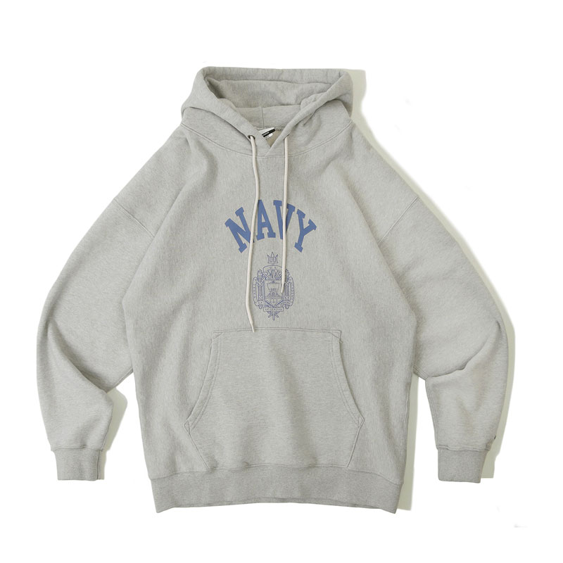 V.S.C HOOD SWEAT_NAVY_3% MELANGE GRAY 아웃스탠딩 컴퍼니V.S.C HOOD SWEAT_NAVY_3% MELANGE GRAY