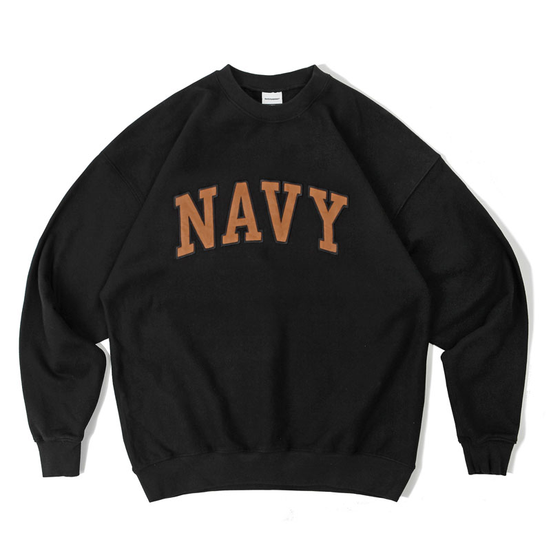 V.S.C SWEAT_NAVY PATCH_BLACK ORANGE 아웃스탠딩 컴퍼니V.S.C SWEAT_NAVY PATCH_BLACK ORANGE